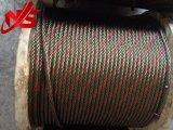 Стренга красного цвета веревочки стального провода 6X37+FC/Iws/Iwrc Ungalvanized одного