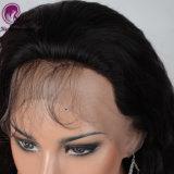En línea recta sin procesar negro natural cabello humano pleno encaje peluca con el cabello del bebé