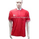 포켓과 자수 로고를 가진 고품질 빨간 Poloshirt