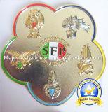 Emblema de enfeite macio de chapa de ouro 3D com acessório de couro