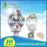 Logo estampé par Silkscreen en aluminium fait sur commande de Cmyk d'insigne de lanière de bouton de bidon