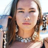 Shell van het Muntstuk van Boho de Zilveren Halsband van de Nauwsluitende halsketting van de Vrouwen van de Juwelen van de Halsband