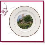 Ronde en céramique blanche bon marché des plaques de sublimation avec double jantes d'or