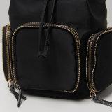 Sac solide de sac à dos de poches de tirette du nylon 3 noirs (15A053)