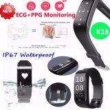 Bracelet intelligent de bracelet imperméable à l'eau avec le moniteur du rythme cardiaque K18