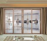 Schiebendes Aluminiumfenster mit Vorhängen nach innen