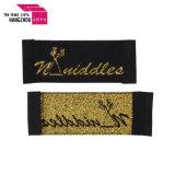 Contrassegno tessuto marchio su ordinazione di marca con la stringa del metallo dell'oro