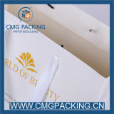 White elegante Paper Garment Bag con Gold Logo Hot Stamping