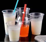 Plastic Duidelijke Koppen met de Deksels van de Koepel van het Gat en het Stro van de Thee van de Bel