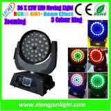 36*10W RGBW 4in1 LED 이동하는 헤드 급상승을%s 가진 세척 효력 빛