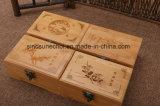 De douane Gegraveerde Doos van de Gift van het Bamboe van het Embleem Houten voor Juwelen en Horloge