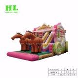 Trasparenza gonfiabile dei capretti del giocattolo di stile romantico Dreamlike del carrello con due cavalli per sviluppare senso dei bambini di innovazione