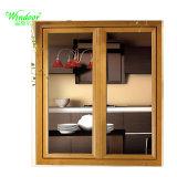 Guichet en aluminium de tissu pour rideaux de doubles carreaux avec les graines en bois