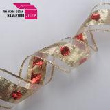 100% poliéster cinta de satén liso con lámina de oro Imprimir