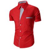 Chemises de robe élégantes du contraste des hommes avec la poche de poitrine (A450)