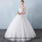 Vestido de casamento do Assoalho-Comprimento da princesa Laço Flor V-Colar Sleeveless
