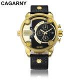 Wristwatch Cagarny многофункциональный в золото людей и черный случай цвета
