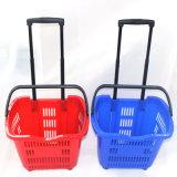 Panier se pliant en plastique de roulement d'achats de supermarché avec des roues