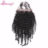 4X4 Kinky Curly vierge brésilienne de fermeture de base de la soie des cheveux humains