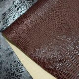 Couro artificial gravado Brown elástico do plutônio do falso para a sapata do vestuário