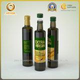 Obscuridade vazia do produto comestível - frasco de petróleo da azeitona do vidro verde com tampão de alumínio (493)