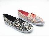 Madame plate Sneaker de confort de deux couleurs avec la glissade sur (ET-LH160305W)