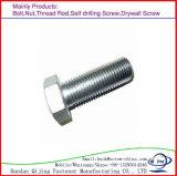 Boulon galvanisé de tête Hex d'acier du carbone avec la noix DIN 933/DIN931