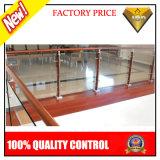الفولاذ المقاوم للصدأ الدرابزين الخشب مع الزجاج لمشروع