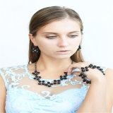 Los nuevos granos de Negro conjunto de joyas de piedras manera del pendiente de la pulsera del collar colorido