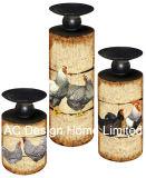 S/3 Galo e galinha Vintage Design de mobiliário em madeira MDF/Metal Ronda do Cilindro do adesivo de papel suporte para velas