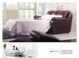 Sofá cama de cuero con colchón plegable