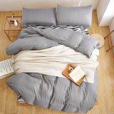 安い価格のMicrofiber Bedding Quilt Cover Set可逆固体灰色カラー女王および王