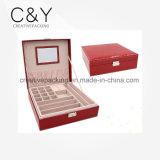 Rectángulo de joyería de cuero modificado para requisitos particulares venta caliente