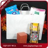 Saco de portador relativo à promoção branco do saco de compra do saco do papel de embalagem E do saco dos sacos de papel de Kraft Brown