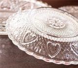 3PCS는 투명한 부조 유리 접시 식기류를 지운다