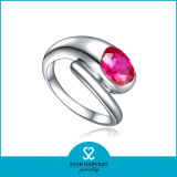 Rubí Elegante anillo plata con diseño personalizado (R-0503)