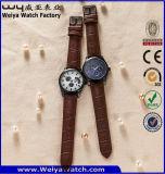 Montre-bracelet faite sur commande de dames de quartz de courroie en cuir de mode (WY-P17009B)