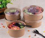Los tazones de fuente de papel disponibles con la tapa abonable sacan los tazones de fuente de ensalada del papel de Kraft