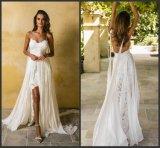 Spitze-Brautkleid-Isolationsschlauch-Chiffon- Garten-Strand-High-Low Hochzeits-Kleid Y6401