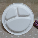 Placa disponible abonable del bagazo del plato biodegradable reciclable del compartimiento