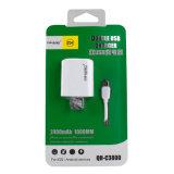 двойной заряжатель переходники USB телефона USB 2.4A быстрый с кабелем USB 1m микро- для Android