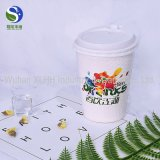 Nuove tazze di caffè doppie impresse 12oz a gettare su ordinazione del documento di parete dell'ondulazione di Biodegrable con i coperchi