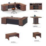 L形MDFのコーヒー机表、食器棚、オフィス用家具のオフィスセットが付いている木のオフィス表