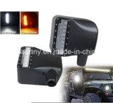 Lente lateral blanca del humo de la luz de señal de vuelta del amarillo del espejo del Rearview LED de la luz pilota del coche para el Wrangler Jk Jku (paquete del jeep de 2)