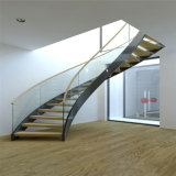 Escalera curvada interior de las escaleras de cristal de acero de lujo prefabricadas para la mansión
