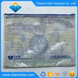 Malla de plástico reciclado personalizado de la bolsa de documento