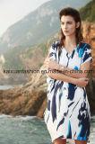 Neues Drucken V-Stutzen Frauen-Kleid