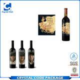 Étiquette en verre privée de collant de vin d'impression de couleur