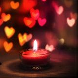 Bougie givrée de conteneur en verre de coeur pour le jour de Valentine