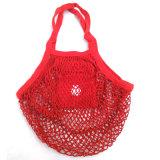 Baumwolle gesponnene Griff-Firmenzeichen-Drucken-Baumwoll-Polyester-Netz-Ineinander greifen-Einkaufstasche